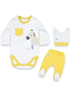 Vip Bebe Vipbebe Erkek Bebek Çizgi ve Zebra Desenli Çıtçıtlı Uzun Kol Mevsimlik Badi, şapka ve Pantolon Takım